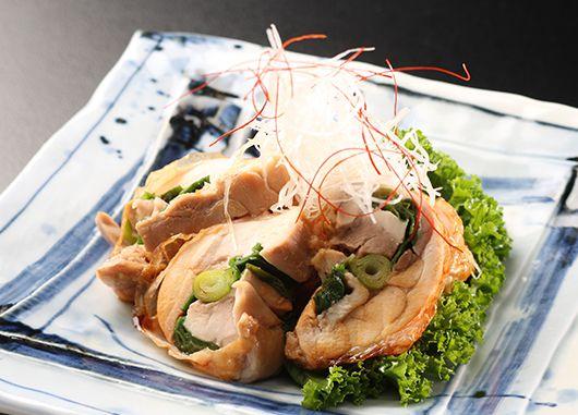 大山鶏と九条葱のはさみ焼き