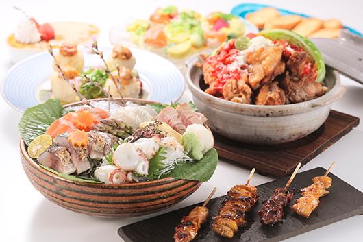 旬菜鮮魚と七谷地鶏の炭火焼きコース