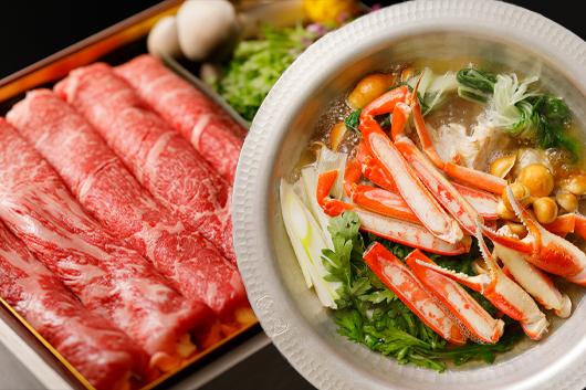 和牛のしゃぶしゃぶor日本海のズワイガニの蟹すき鍋コース