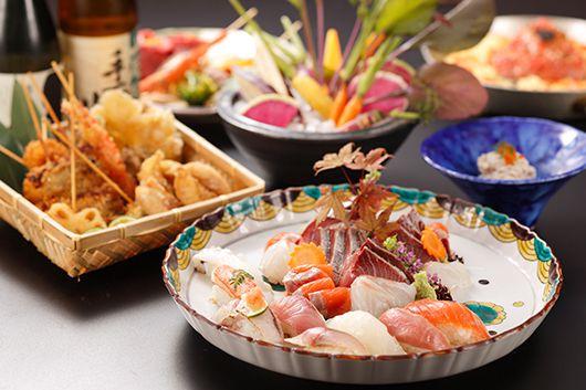 特盛お造りと寿司・旬菜を味わう100分飲み放題付きオールコミコミプラン